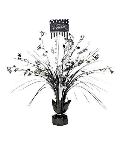 Horror-Shop Dekorativer Aufsteller Happy Birthday für den Geburtstags-Tisch Black/Silver (Halloween Geburtstag Happy)