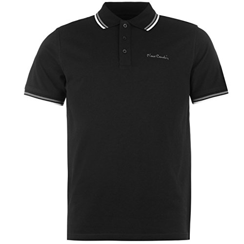 Lässige Cotton Polo Shirt (Pierre Cardin Tipped Herren Polo Shirt Kurzarm Tee Top Polohemd Poloshirt Schwarz Medium)