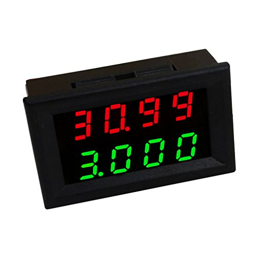 MagiDeal Mini Digital Voltmeter DC 3,5-28 V Amperemeter Panel Meter Spannungsanzeige Messer - Dual LED Display - Grün (Display-gehäuse Für Messer)