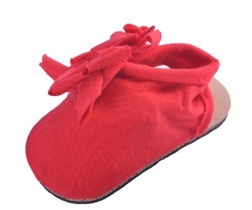 Baby Mädchen Baumwolle Weiche Kinderbett, Kinderwagen Schuhe Mit Stylischem Blumen Detail Rot