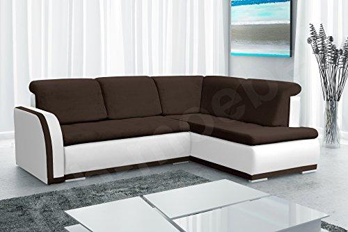 Ecksofa Sofa Eckcouch Couch mit Schlaffunktion und Bettkasten Ottomane L-Form Schlafsofa Bettsofa Polstergarnitur - VERO II (Ecksofa Rechts, Braun + Weiß)