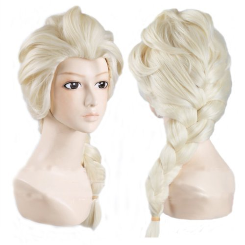 Elsa Frozen Disney Kostüm (Generic Anime Cosplay Costume Wig for Disney Movies Frozen Snow Queen)