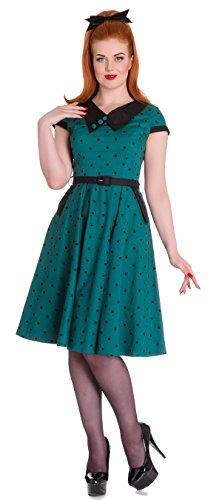 Hell Bunny BROOKE Polka Dots Punkte 50s Collar Swing Dress KLEID Gr Rockabilly Petrolfarben mit schwarzen Dots