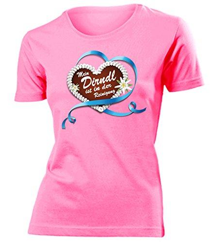 Lebkuchenherz Mein Dirndl is in der Reinigung 3344 Oktoberfest Outfit Artikel Kostüm T Shirt verkleidung Wiesn Frauen Damen Mädchen Geschenk Pink XXL