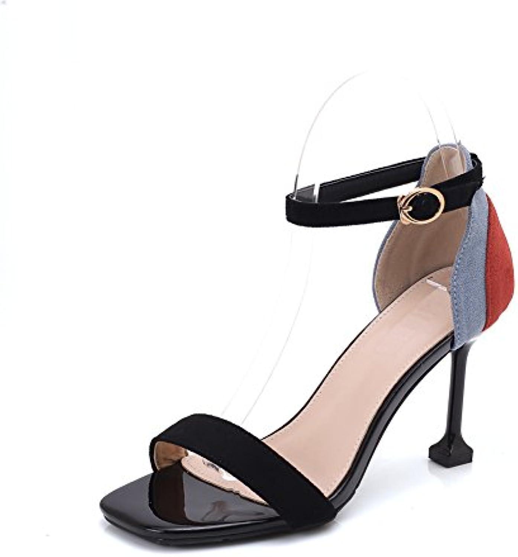 Ruiren Sandalias del Talón del Gatito de Las Mujeres Zapatos Abiertos del Dedo del Pie del Tobillo de los Altos... -