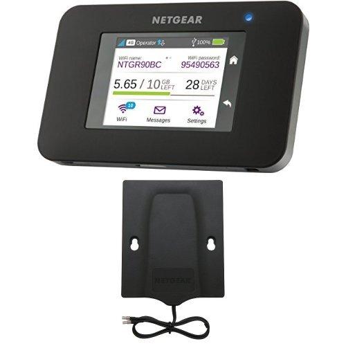 Netgear ac790-100eus router mobile 4g lte fino a 300 mbps, wifi hotspot dual band ac, touchscreen, funzione di caricabatteria portatile, compatibile 3g, porta usb, nero  6000450 antenna