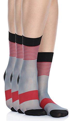 Antie Damen 3er Pack Gemusterte Socken G1030 20 DEN (Jeans(3 Pack), One Size)