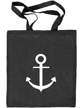 Shirtstreet24, ANKER, Kapitän Seefahrt Schiff Stoffbeutel Jute Tasche (ONE SIZE)