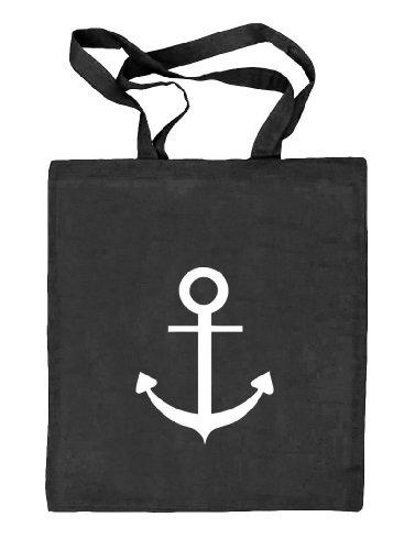 Shirtstreet24, ANKER, Kapitän Seefahrt Schiff Stoffbeutel Jute Tasche (ONE SIZE) schwarz natur