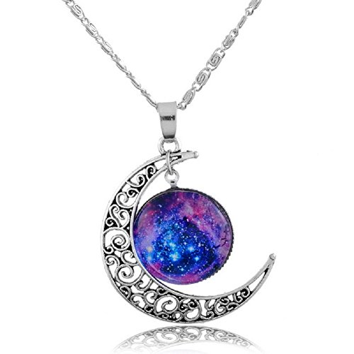 sharefashion-hollow-pattern-crescent-moon-sky-time-round-pendant-chain-necklace-sf-up00307
