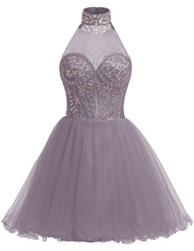 Dresstells Damen Kurz Tüll Brautjungferkleid Stehkragen Cocktail-Kleider Grau