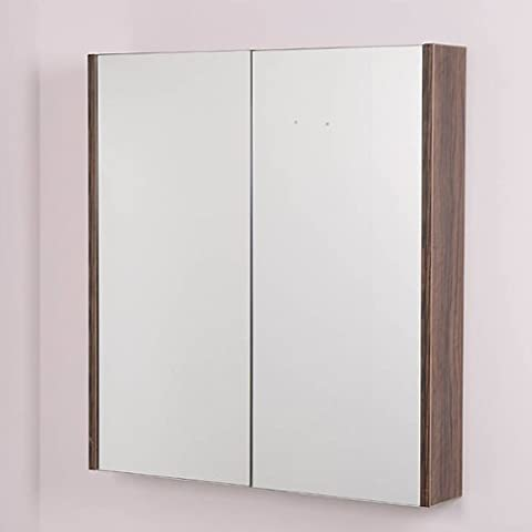 Bathroom Mirror Cabinet Wall Storage Furniture 60cm Mounted Hung Recessed Large Modern Designer Glass 2 Door with Walnut Edge