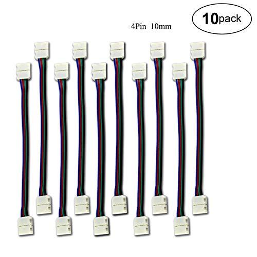 LED Stripe Verbinder Adapter DIY 4 Pins 10mm Schnellverbinder Nicht wasserfest Schneller Splitter 12V Clip für 5050 RGB 4 Leiter LED Strip Connector Led Streifenverbinder (10 Stück)