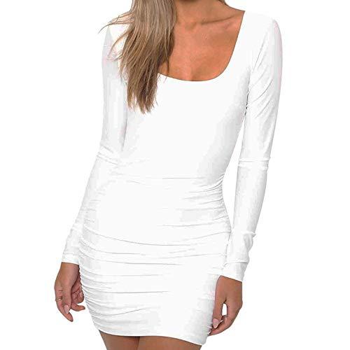 Beginfu Frauen Mode Herbst Solid Langarm Öffnen Sie zurück O-Ausschnitt Sexy Gesäß Kleid...