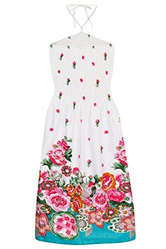 Donna Pistachio 2 In 1 Abito Prendisole Da Donna In Cotone Floreale Lungo Gonna Estiva Blanc floral