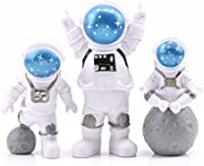 3pcs Astronaut Desktop Ornaments Resin Spaceman Figure Toy Cake Topper Tabletop Ornament for Kids Party Gift D