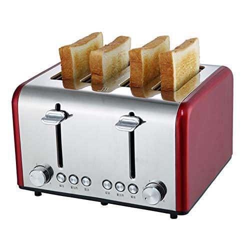 Toaster mit 4 Scheiben, rot Glatt Gebürstet Rostfreier Stahl Toaster mit Stornieren Aufwärmen...