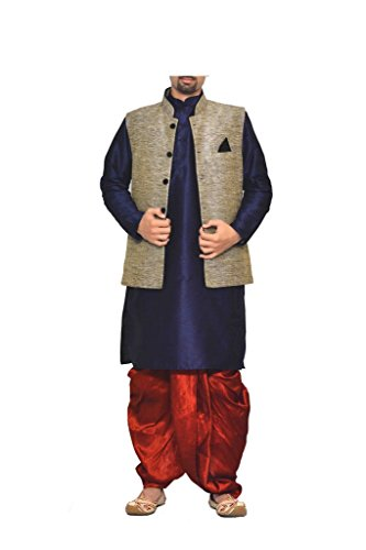 Mag Men's Navy Blue Kurta Red Dhoti With Black Jacket (RG-5175-42)