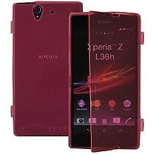 VCOMP funda carcasa de silicona gel Cartera Tipo libro solapa para Sony Xperia Z L36h C6602 C6603 - ROSA
