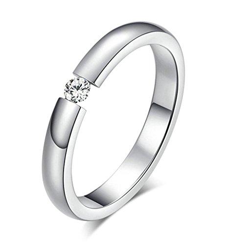 Gnzoe Schmuck, Edelstahl Ringe Elegant mit Cubic Zirkonia 3mm Gr.54(17.2) Silber Trauringe Heiratsantrag Band Für Damen
