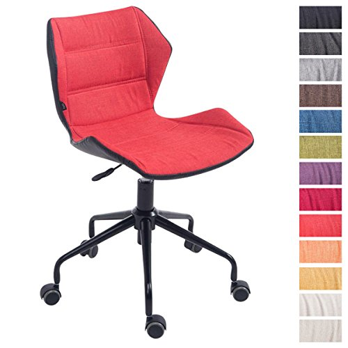 CLP Bürostuhl ROGER, Arbeitshocker höhenverstellbar 45 - 55 cm, gepolstert, max belastbar bis 115 kg, Stoff-Bezug hellrot