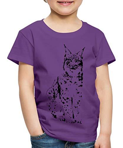 Spreadshirt luchs Lynx Cougar wild cat Katze Raubtier löwe Tiger Wolf Kinder Premium T-Shirt, 134/140 (8 Jahre), Lila -