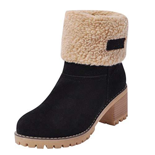 Bazhahei donna scarpa,scarponi da neve slittata stivali corti aumentati,invernali/autunno stivaletto scarpe singole stivaletti a tubo centrale casual con tacco basso,scarpe moda da donna