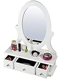 Uniware Elegant Jewelry Box with Drawer and Up-right Mirror,  Perfect Gift,  White