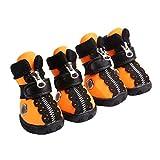 Kuncg Pfotenschutz Hundestiefel Cool Bequeme Atmungsaktive Und Rutschfeste Schutz Kleine Hund Schuhe Vier Jahreszeiten Anwenden Orange 5