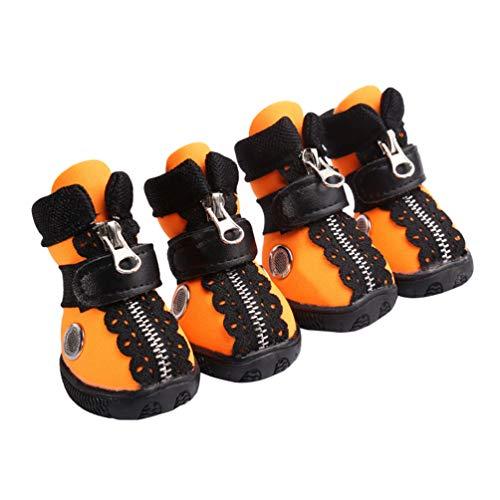 Kuncg La Pata Protege Botas para Perros Cool Cómodo Respirable Y Antideslizante Pequeños Zapatos Protectores para Perros Se Aplican Cuatro Temporadas Naranja 3