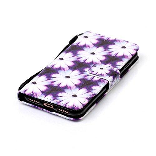 iPhone 7 Coque, Rose Cuir iPhone 7 Etui Rabat Style Prime Portefeuille Case Avec Carte Slots pour Apple iPhone 7 4.7 inch Avec Mandala Motif Image noir-2