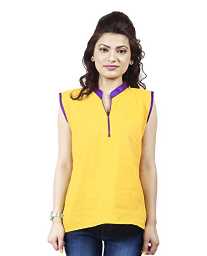FASHION By The BrandStand Women's Cotton Kurti (VS_KRT6008_Ylw_S, Yellow, Small)