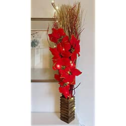Luminoso rojo Pascua de Navidad. Diseño de arreglo Floral Artificial flores de seda y Indian hierbas secas en madera jarrón. 20libre LED Luces y 3libre pilas AA. Altura: 95–100cm (3pies).