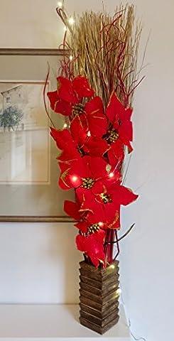 Tricks rot Weihnachtsstern Weihnachten Blumen-Arrangement. Künstliche Seide Blumen und indischen
