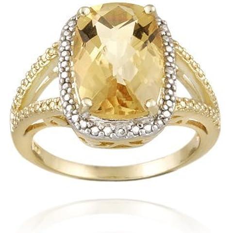 Tono de oro sobre plata esterlina 5.1Ct citrino y anillo acento diamante corte del amortiguador