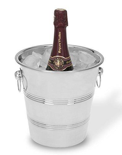 Flaschenkühler aus Edelstahl RILLEN Sektkühler Eiseimer Weinkühler Sektkübel Champagnerkühler (1x)