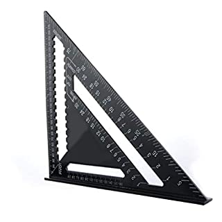 Bomcomi 7/12 Inch Measuring Ruler Roofing Rafter Aluminum Alloy Layout Tools Carpentry triangular Protractor