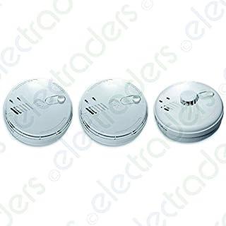 Set of 2 x Aico EI141RC Mains Smoke Alarms + EI144RC Mains Heat Alarm with FREE MCD LED Keyring Torch