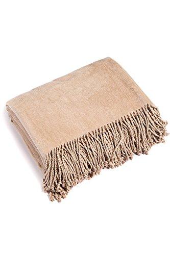 Tan-100% Kaschmir (Fischer Finery Ultra Plüsch Überwurf, Micro-Velvet Fleece für Komfort und Wärme, sand, 50 x 64 Inches with fringe)