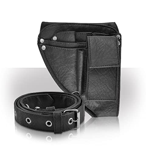 Roo Beauty Hairdressing Pouch, Scissor Holster with Belt, Hair Kit Accessories in Mini Black