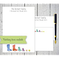 Wellington boot family personalised and boxed notepaper set
