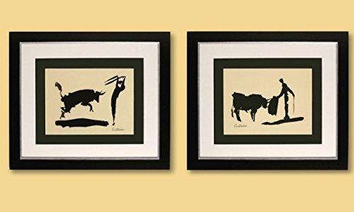 2 Kunstdrucke Bilder Pablo Picasso Bullfighter / Picador signiert mit Rahmen 51 x 44 cm PREIS-HIT