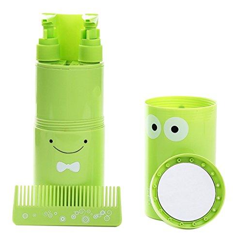 EOZY Travel Wash Kit Flacon Toilette Multifonctions Rangement Accessoire Peigne Miroir Vert