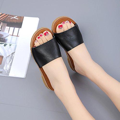 PENGFEI sandali delle donne Sandali pantofole spiaggia estate Donna Sandali piatti antisdrucciolo Pantofole studenti in bianco e nero Confortevole e traspirante ( Colore : Nero , dimensioni : EU38/UK5 Nero