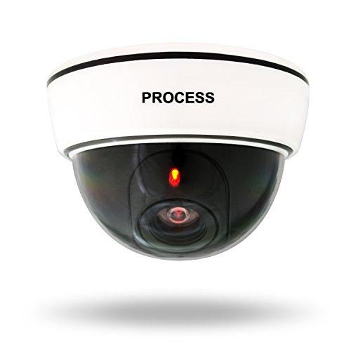 VENKON - Telecamera di Sicurezza FINTA CCTV Videokamera di Sorveglianza con LED Rosso per Uso Interno & Esterno - Batterie Alimentato