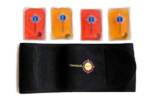 Wärmegürtel I Rückenwärmer I Heizkissen mit 4 x wiederverwendbare Taschenwärmer I Wärme für den Rücken – Hilft bei Schmerzen, Verspannungen - sofort warm ohne Strom – von TRANQUILISAFE