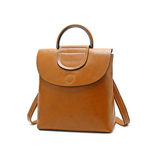 QIAOY Taschen Shopper Tasche Handtasche Öl Wachs Leder Schultertasche Leder Weibliche Tasche Mode Wildleder Leder Rucksack,Khaki-OneSize