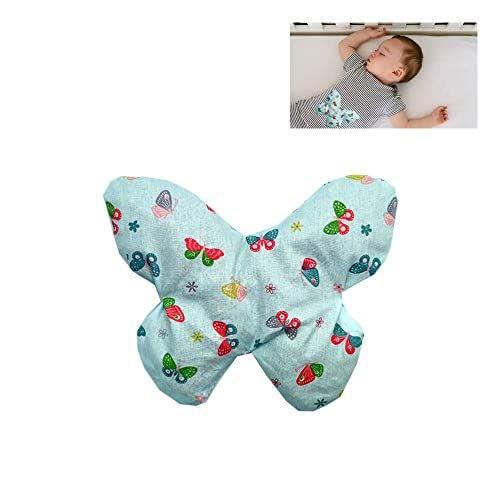 """Sacca termica per alleviare le coliche nei neonati """"Farfalla verde"""" - contiene 170 g di noccioli di ciliegia - Per alleviare coliche, gas, dolori addominali dei bambini, ecc. – 19x15cm - 100% cotone"""