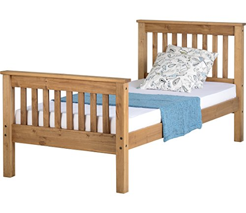 Monaco Corona Distressed Waxed Pine 3FT Single 90cm Wooden High Foot Bed Frame