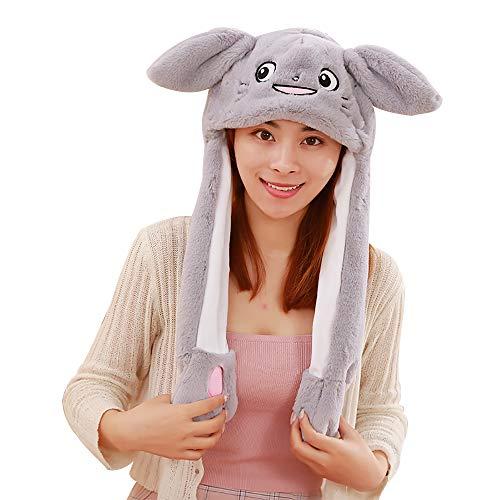 Kostüm Einhorn Cat - Woneart Lustige Plüsch Tier Ohr Hut Spielzeug Hasenmütze Stirnband Tiermütze Einhorn-Hüte Bunny Ohren mit Beweglichen Ohren Cosplay Kostüm für Dame Mädchen Erwachsene Kinder (60CM, Grey Cat)
